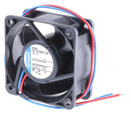 Ebmpapst 622HH Cooling Fan, Size 60 X 60 X 25mm 12 V DC, Air Flow 56m3/h, 8200rpm