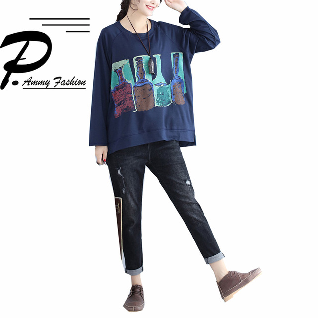 Women's Casual Plus Size Long Sleeve Cotton T shirt 2017 Autumn Lagenlook Loose Shirts Ladies Fashion Bottle Patterned Tops Tees