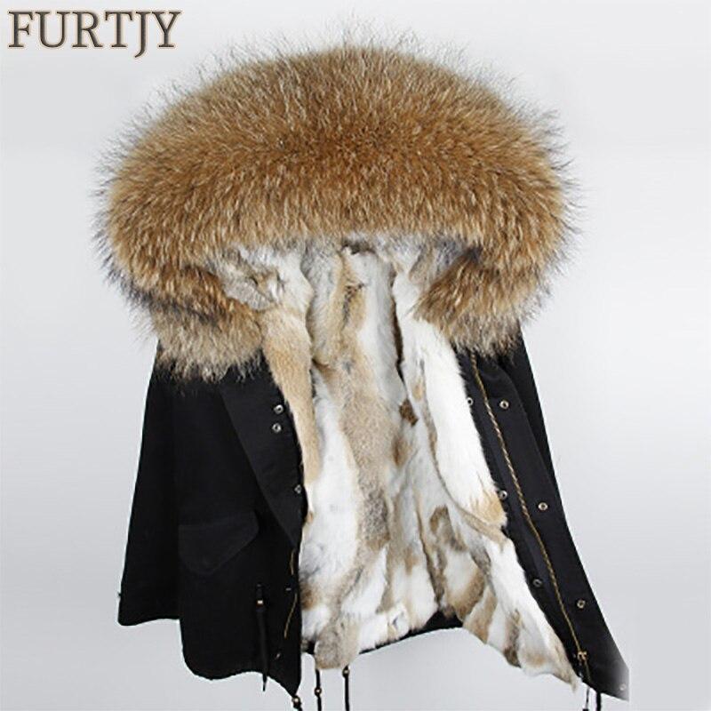 Vente spéciale De Mode femme vert armée Grand col de fourrure de raton laveur manteau à capuchon parkas outwear détachable doublure en fourrure de lapin Parka