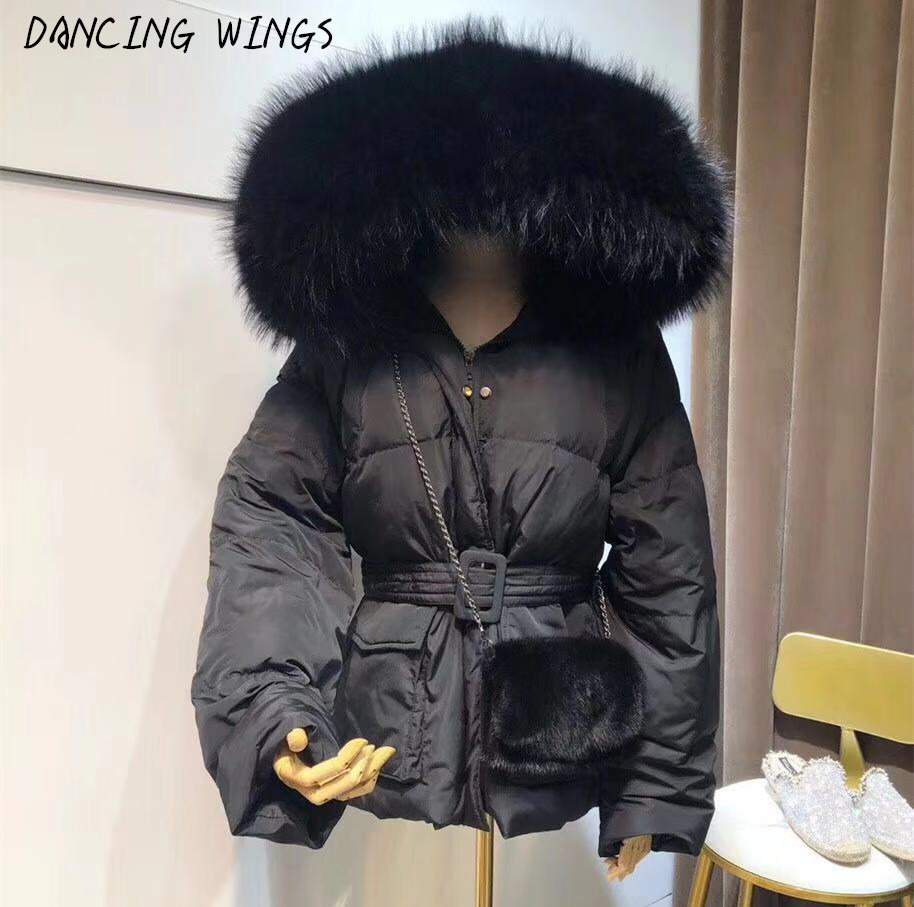 High Street Fashion Women's 90% White Duck   Down     Coat   Real Large Raccoon Fur Collar Female Hooded Warm Thick   Down   Jacket Parkas