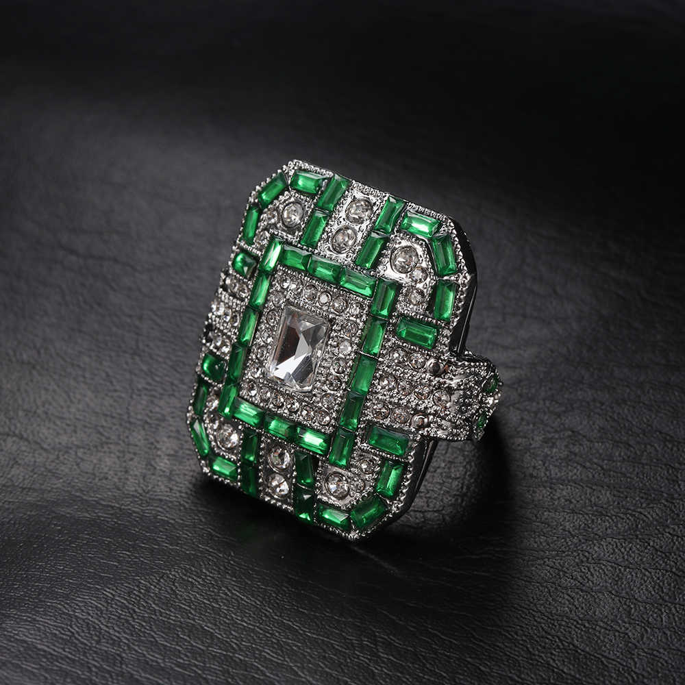 מתנה טרנדי גדול טבעת נשים גברים 925 כסף טבעות יוניסקס מסיבת עתיק כחול סגול ירוק אמנות דקור טבעת יום נישואים תכשיטים