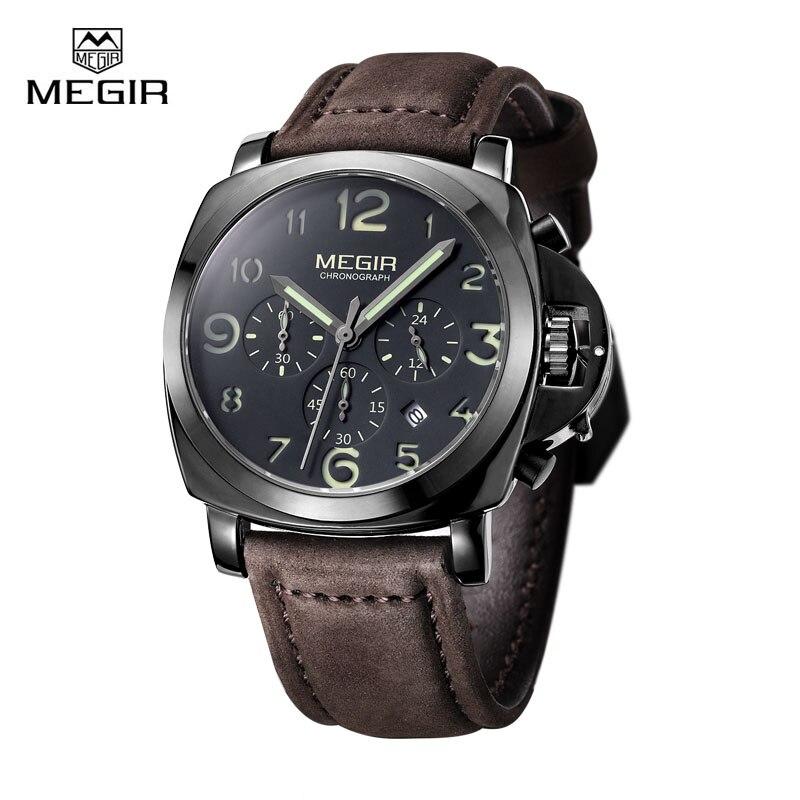 Megir Brand Military Luminous Quartz Watches Men Relojes High Quality Chronograph Waterproof Leather Sport Wristwatch Clock