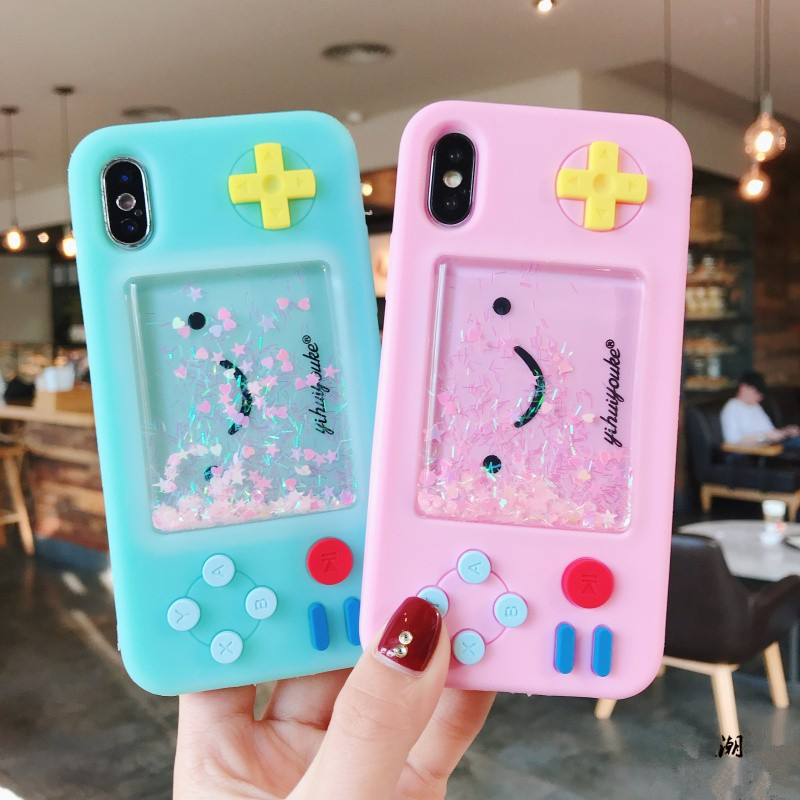 Pink 3D cute smiley game machine dynamic liquid quicksand silicone soft cover case for iphone MAX XS XR 6 7 8 plus X phone cases