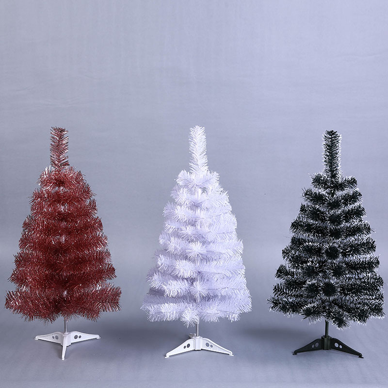 Mini Artificial Christmas Tree Small Xmas 60cm New Year Home Ornaments Desktop Decorations White Plastic
