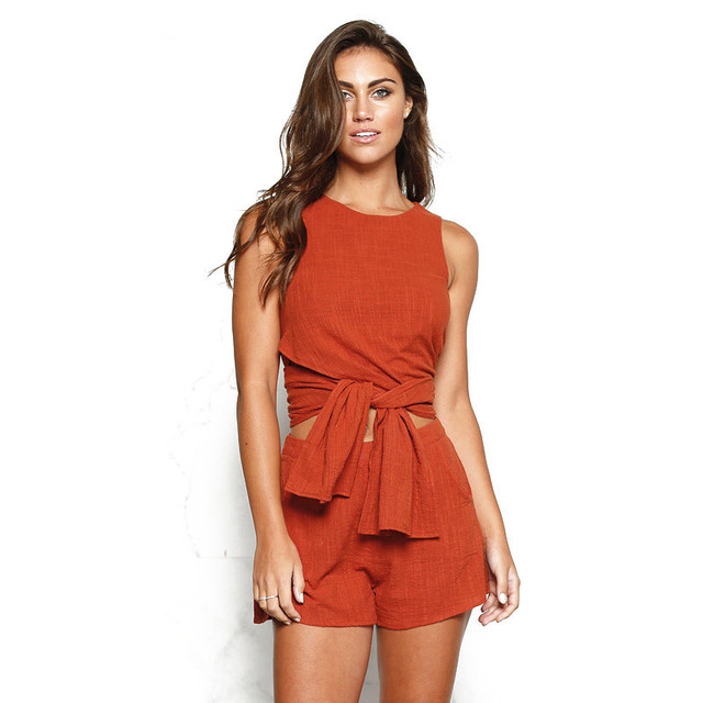 Two Piece Set Summer Outfits For Women Orange Cotton Linen Sleeveless Top And Shorts 2 Piece Women Sets Clothes Moda Mujer Yq164 by Mlcriyg