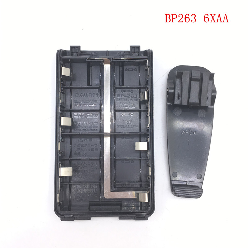 Honghuismart BP263 6xAA Battery Case Box With Belt Clip For Icom IC-V80/U80 IC-T70A F3103D,F4103D,F3001,F4001 Etc Walkie Talkie