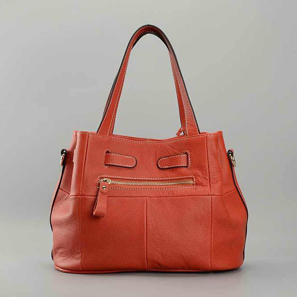 Zency 100% Weiche Echtes Leder Elegante Frauen Schulter Tasche Charme Orange Mode Messenger Crossbody Geldbörse Mit Schloss Handtasche
