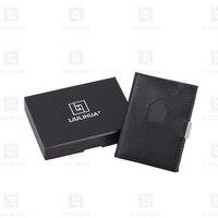 Slim leather wallet Men Women Small Business Credit Card Holder Mini Wallets Exentri similar wallets black Luxury Man Purse