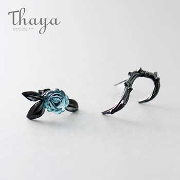 Thaya s925 Silver Thorn Blue Crystal Rose Design Black Stud Earrings for Women Asymmetry Flower Earring Female Jewelry Gift - DISCOUNT ITEM  20% OFF All Category