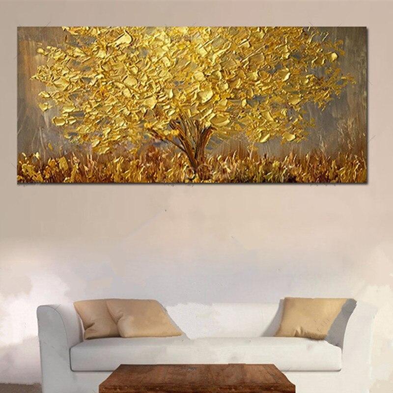 Большой Красивая Настенная картина расписанную Abstrac Золотой масла Картины на холсте современного домашнего декора Золото дерево фотографи...