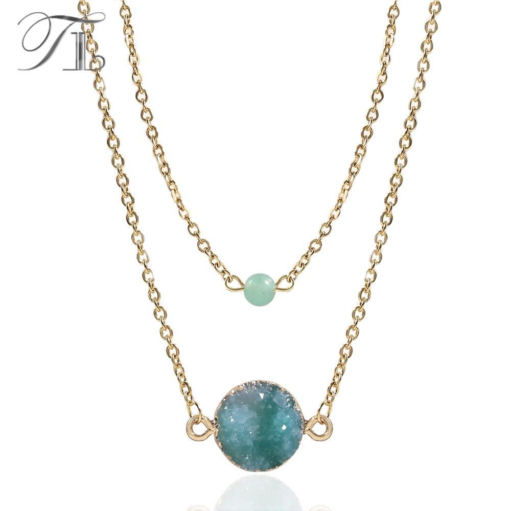 TL Dunkelblau/Grün Kristall Mine Anhänger Halskette Goldene Edelstahl Kette Halskette Handgemachte Natürliche Stein Halskette Für Frauen