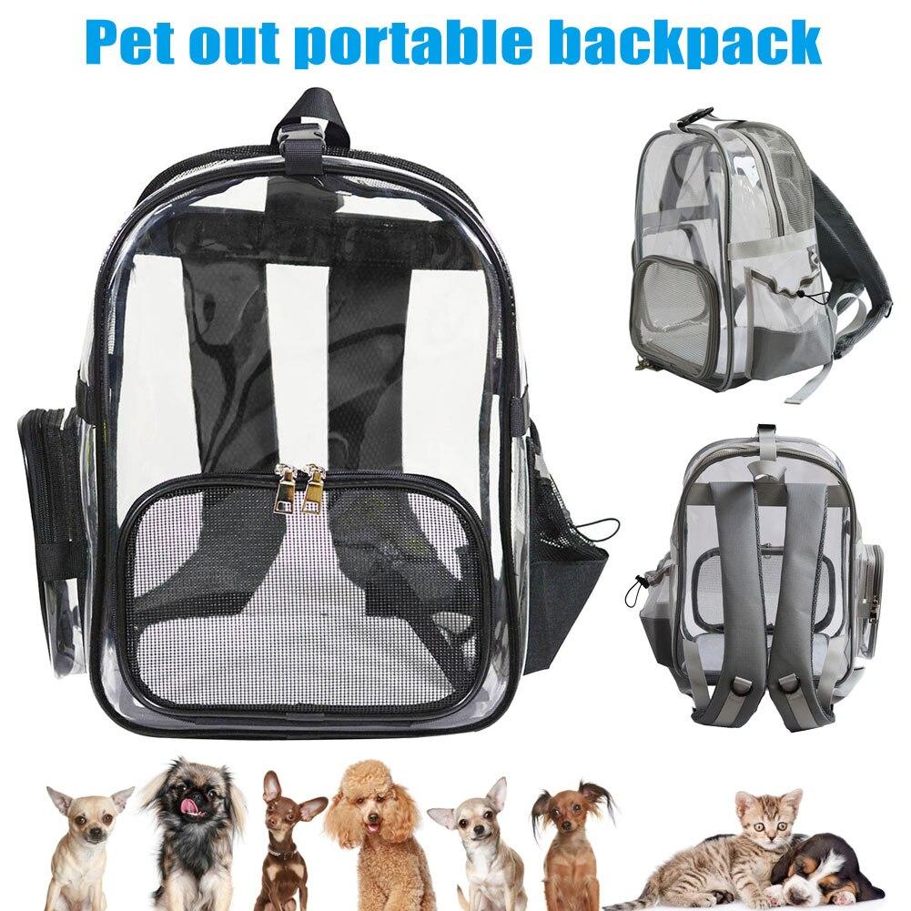 Sac de transport Transparent pour animaux de compagnie et chat chien chiot respirant confort voyage épaule sac à dos Portable MYDING