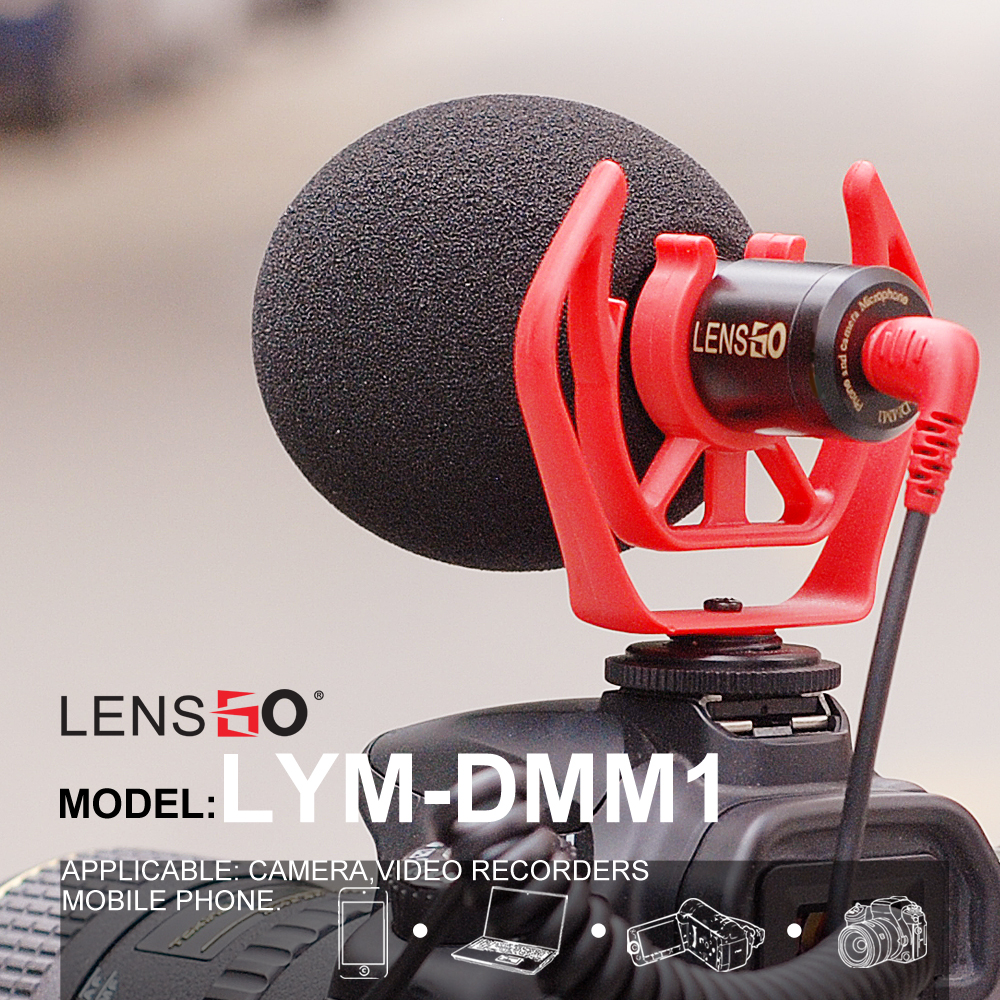 Lensgo Camera Smartphone Computer Universal Video Microphone,Windproof Noise Reduction with Shockproof Mount,Sponge Windsheild smartphone