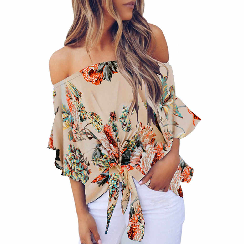 Womens Off Shoulder Half Sleeves Ruffles Tie Knot Floral Print Tops Casual Shirts Girl's Summer Femininas Blusas Camisa T-Shirts