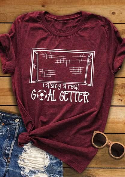 2018 mujeres fútbol objetivos impresión levantar un verdadero objetivo Getter carta Borgoña o-cuello camiseta Casual camisetas de las señoras