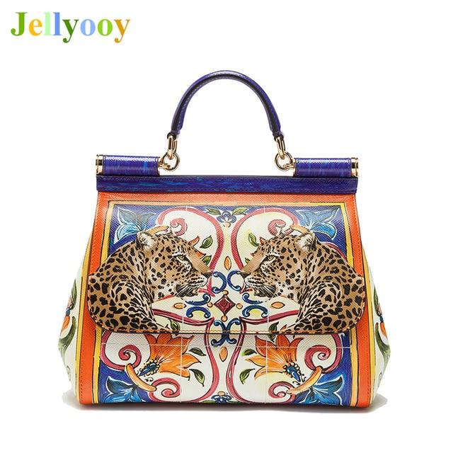 c00f5f20c9 Luxury Brand Leopard Print Sicilian Bag Genuine Leather Tote Bag Women  Platinum Bag Female Shoulder Bag Handbag Original Quality