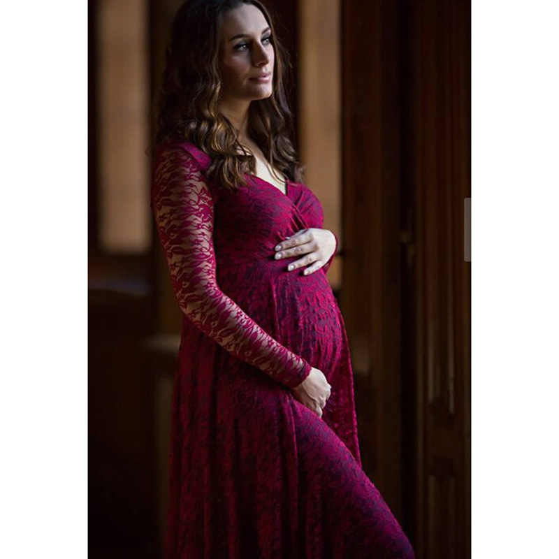 9537e06708ee7 NEW Maternity Photography Props Lace Pregnancy Clothes Elegant Maternity  Dresses For Pregnant Photo Shoot Cloth Plus Women Dress