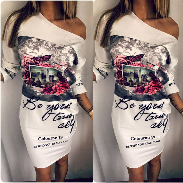 2018 New Arrival Fashion Plus Size Women Clothing, Female Floral Print Party Dresses Sexy Oblique Neck Half Sleeves Dresses