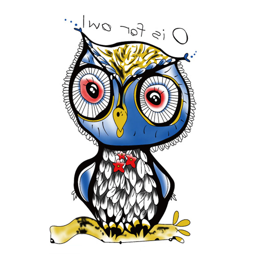 Yeeech Temporary Tattoos Sticker for Men Women Fake Large Harajuku Lovely Owl Animal Designs Anime Arm Leg Body Art Waterproof
