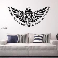 Motorsports Biker Wall Sticker Ride to Live Quote Mural Motoclub Riders Wallpaper Motorcycle Decal Collection AY1047