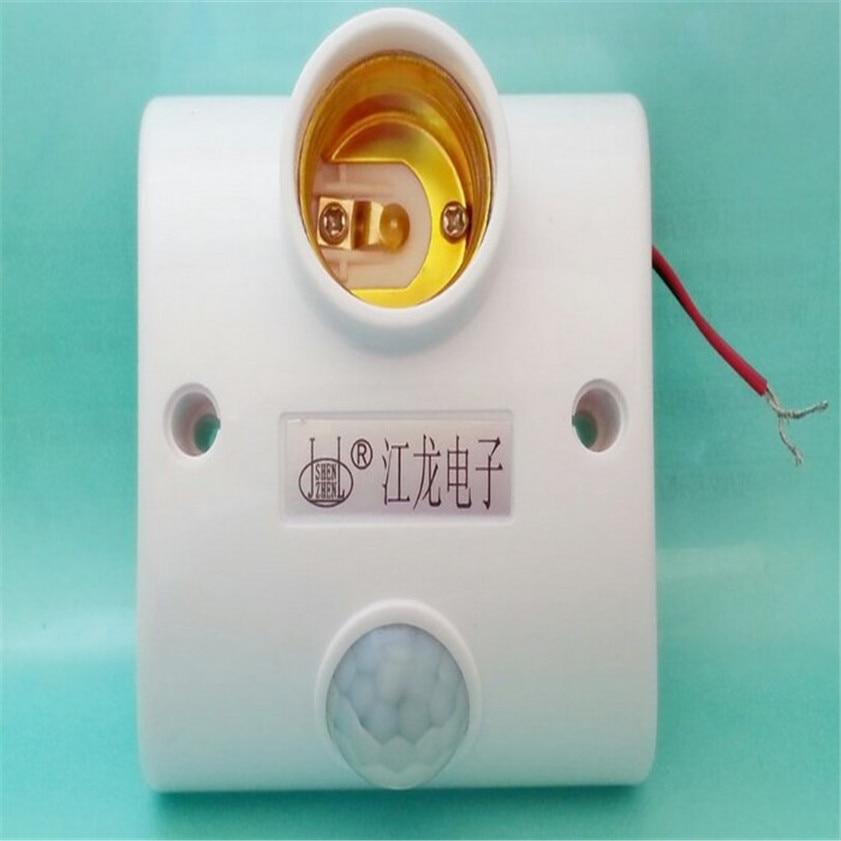 High Quality  Infrared Motion PIR Sensor Automatic LED Light Lamp E27 Holder Switch e27 led pir motion sensor lamp holder ac 180 240v