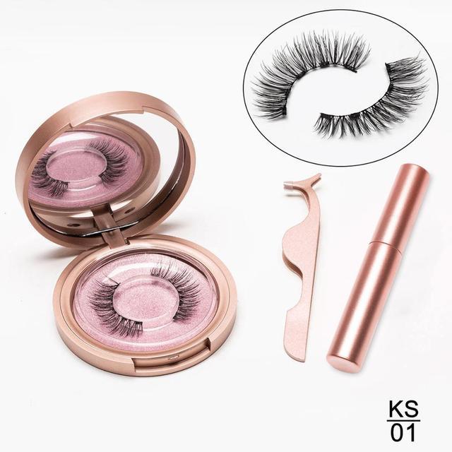 Magnetic Eyelashes Eyeliner Eyelash Curler Set5 Magnet Natural Long Magnetic False Eyelashes With Magnetic Eyeliner Tweezers Set 3