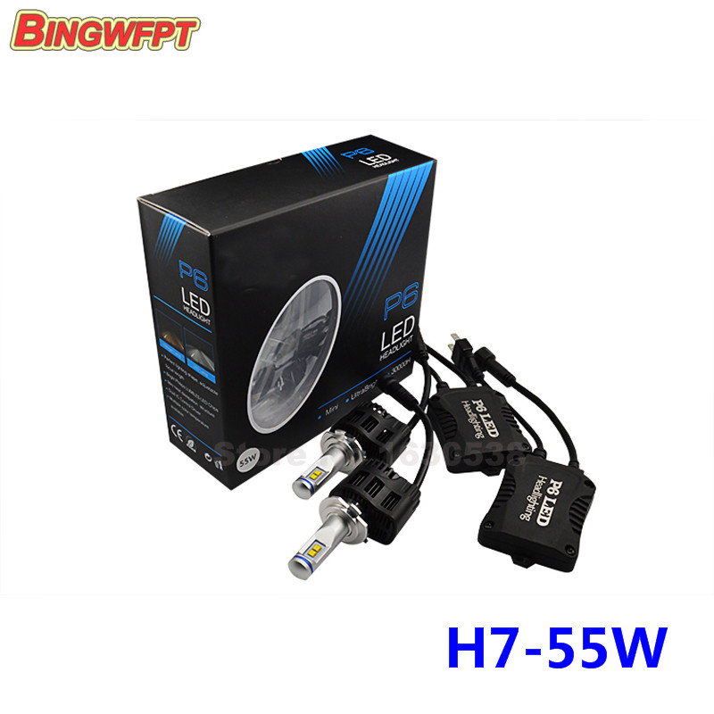2PCS Car styling P6 H7 LED Canbus 110W 10400Lm LED Car Bulb Auto Lamp Headlight Fog Light Conversion Kit 3000K 4000K 5000K 6000K 2pcs lot 80 watt led xenon blanc h7 led 80w canbus 80 watt viel heller wie 60w 50w 55w anti brouillard auto car fog led