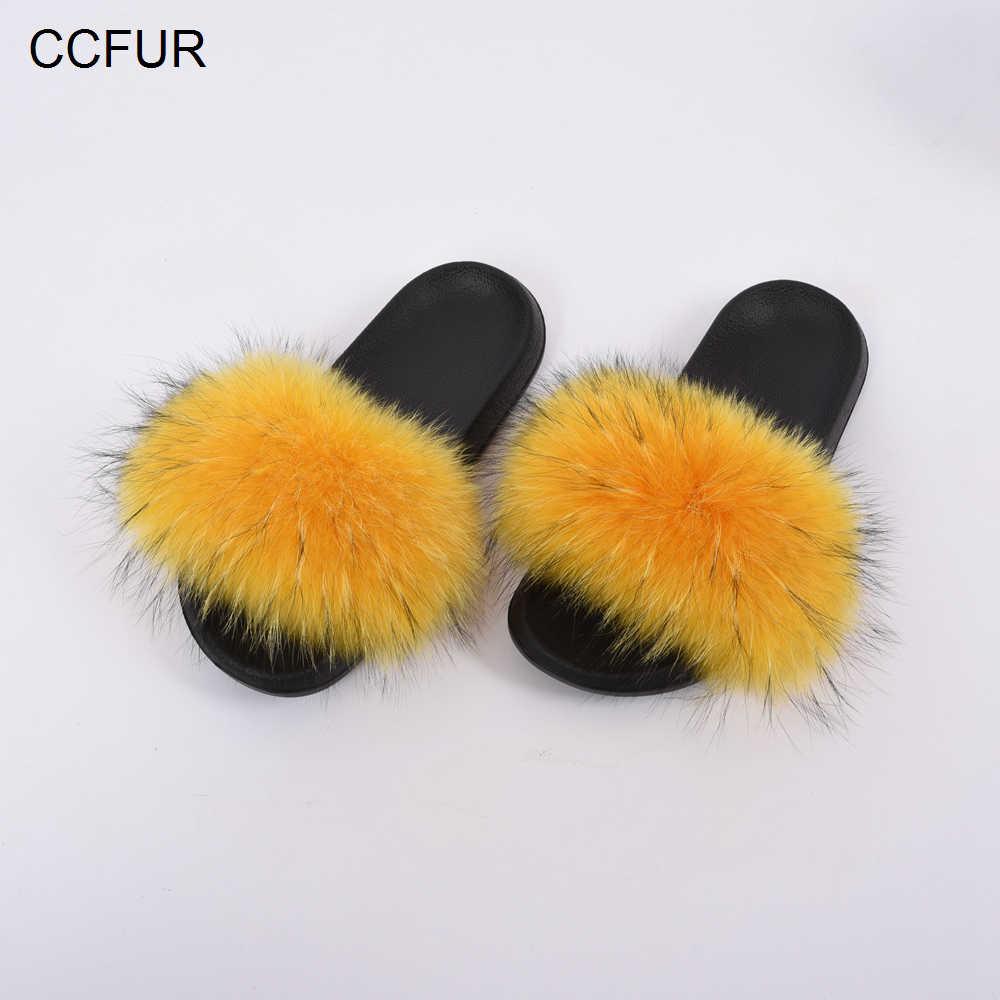 c95e0ee9219 ... CCFUR Women s Real Raccoon Fur Slides EVA Slippers Anti-slip Sliders  Retail   Wholesale Genuine ...