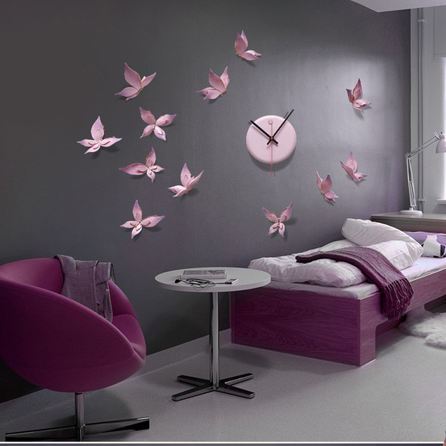 Creative design decorative wall clock butterfly diy cartoon charts living room mute fashion hand painted also rh aliexpress