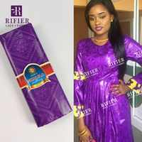 New 5 Yards Hand Make Bazin Riche Lace Fabric In Purple Color Nigerian Ankara Unique Pattern Basin Women Or Men Garment Material