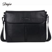 DANJUE High Quality Genuine Leather Man Shoulder Bags Soft Solid Color Men's Briefcase Fashion Business Laptop Messenger Bag