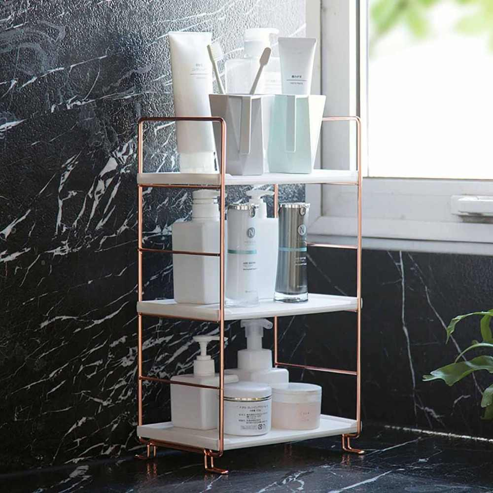 3/2 Tiers Bathroom Copper-plated Shower Organizer Shelves Landing Washing Rack Portable Multi Layers Cosmetic Storage Shelf
