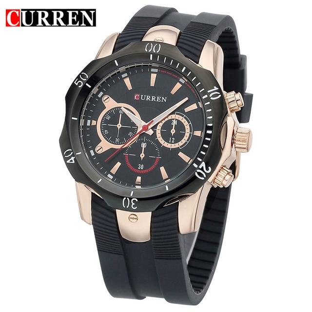 CURREN Mens Wristwatch Top Brand Luxury Silicone Band Man Sports Watches Water Resistance Relogio Masculino Quartz