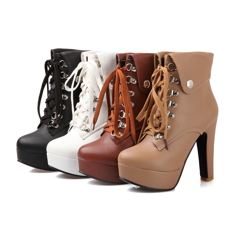 a0e1ad60e513 MORAZORA 2018 New fashion lace up women ankle boots for women high heels  autumn winter motorcycle boots platform shoes female-in Ankle Boots from  Shoes on ...