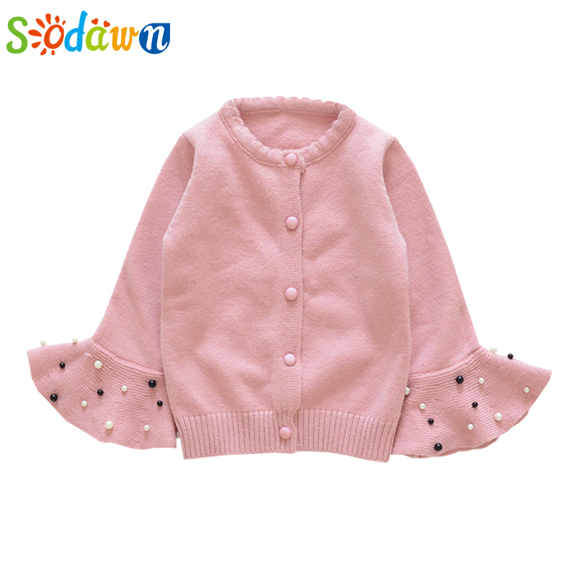 Sodawn Childrens Clothing Autumn Three Kinds Of Color Cardigan Speaker Pocket Sweater Girls Clothes Baby Girls Outerwear