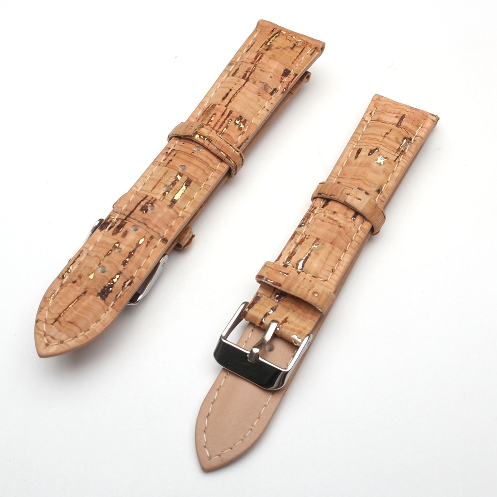 Natural gold and silver embellished cork strap, pu leather 18 / 20MM handmade high quality natural cork watch strap brown cork with pu leather handmade vegan high quality e 001