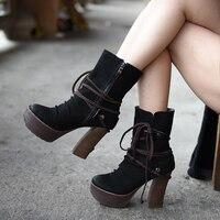 Artmu/Оригинальные Осенние и зимние новые британские толстые каблуки ботильоны Платформа Высокие каблуки натуральная кожа ручной работы жен