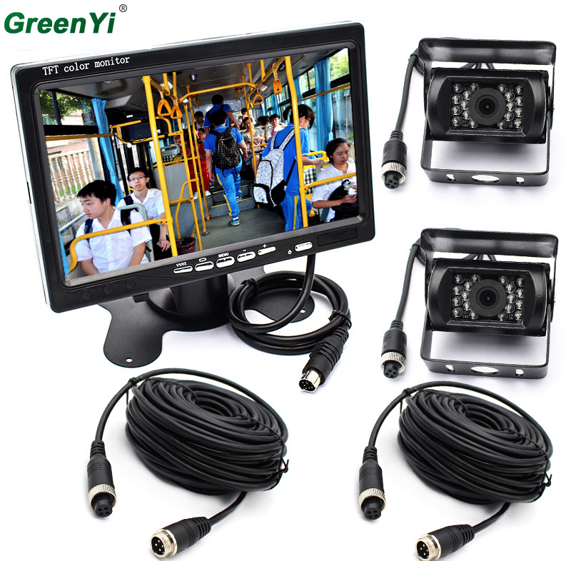 Dual Backup Camera And Monitor Kit For Bus Truck RV, IR LED Night Vision Waterproof Rearview Camera + 7 LCD Rear View Monitor ahd 1 0mp dual cam ir night vision waterproof rear view parking backup reversing camera for vehicle truck bus vans surveillance