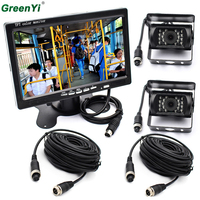 Dual Backup Camera And Monitor Kit For Bus Truck RV, IR LED Night Vision Waterproof Rearview Camera + 7 LCD Rear View Monitor