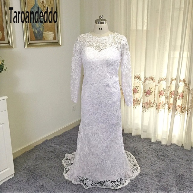 O neck Matte Lace High Quality Sheath Long Sleeves Wedding Dress ...