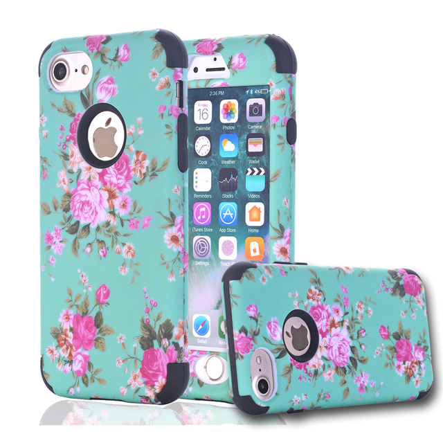 newest collection 13e0f a9ba3 Luxury Case for Apple iPhone 7 Case Coque iPhone 7 Plus 360 Full Protector  Flower Armor for etui iPhone 7Plus Cover iphone7 Case