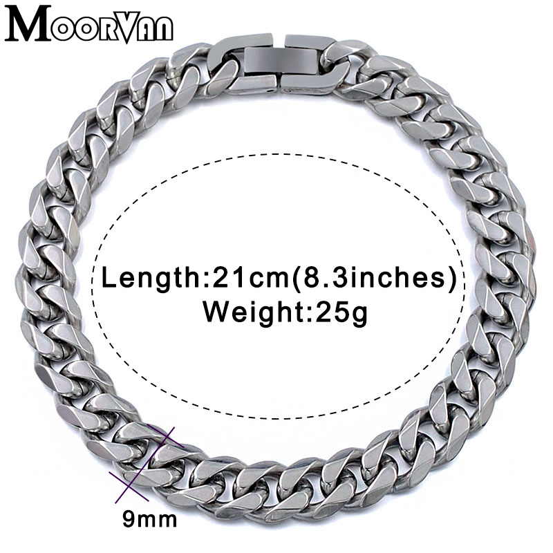 Moorvan Jewelry Men Bracelet Cuban links & chains Stainless Steel Bracelet for Bangle Male Accessory Wholesale B284 5