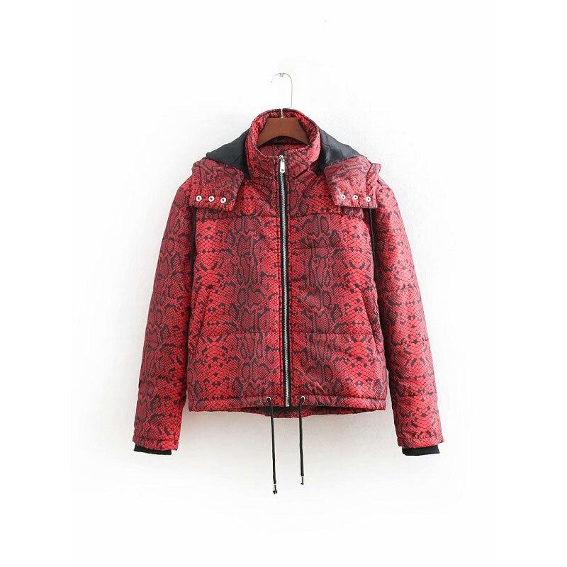 Fashion Za Red Snake Skin Print   Parkas   Winter Women Warm Jacket Female Cotton Padded Coat Feminine Outerwear Ropa de algodon