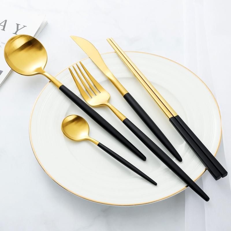 Stainless Steel Fork Spoon Knife set Cutlery Set Food Tableware Luxury Fork Teaspoon Knife Dinnerware Set  Drop Shipping