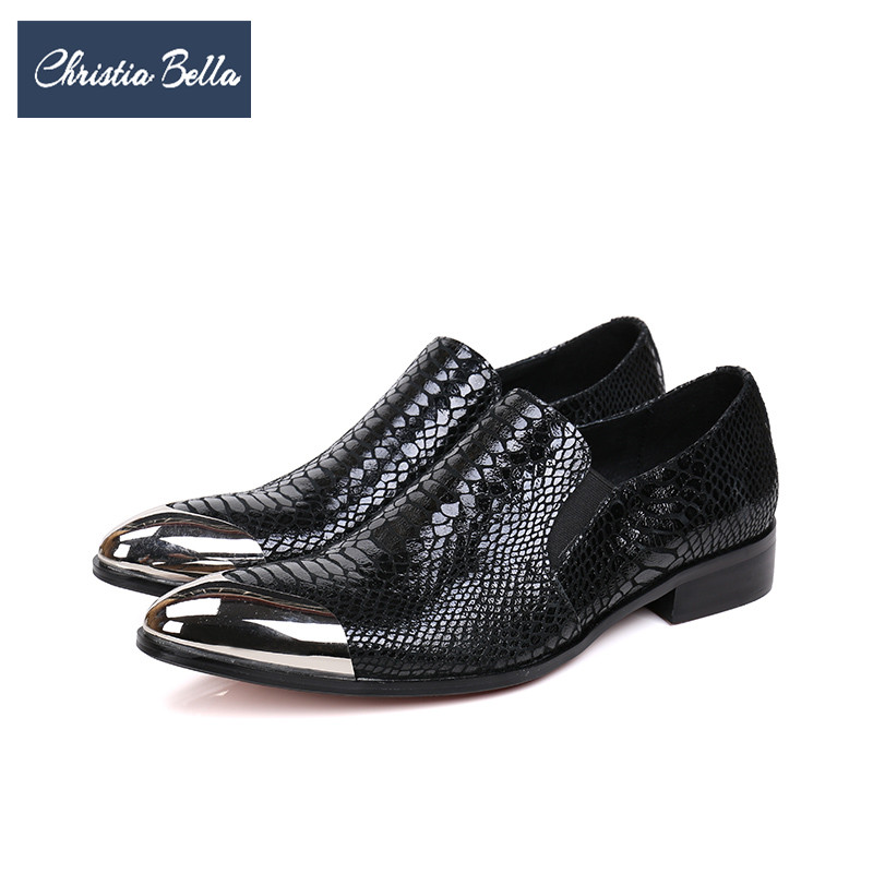 Christia Bella Fashion Snake Pattern Men Genuine Leather Shoes Italian Business Office Shoes Slip on Wedding Men Dress Shoes