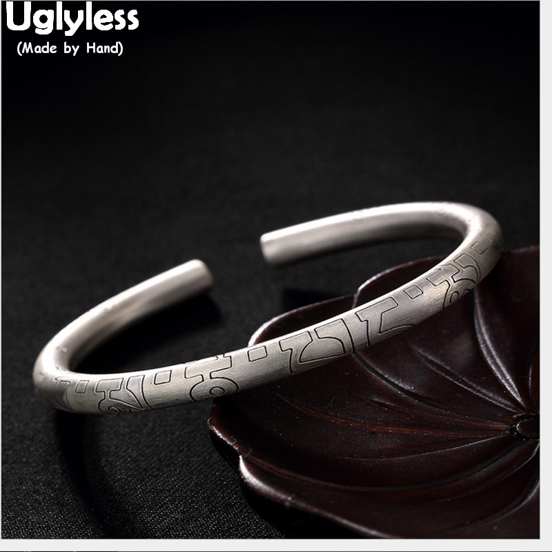 Uglyless 100% Real Solid 999 Fine Silver Vajra Bangles for Women Buddhism Six-word Religious Open Bangle Ethnic Fine JewelryUglyless 100% Real Solid 999 Fine Silver Vajra Bangles for Women Buddhism Six-word Religious Open Bangle Ethnic Fine Jewelry