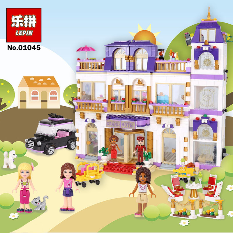Lepin 01045 Girls Friends Heartlake Grand Hotel Building Block DIY Bricks Compatible With Legoing 41101 Model for Girls Gift lepin 01045 girls series the heartlake grand hotel model set building blocks bricks eucational toys for girls gift 41101