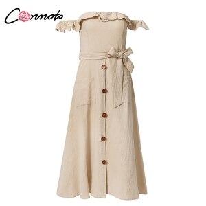 Image 5 - Conmoto Vintage Ruffle Sexy Off Shoulder Long Dress Women 2019 Summer Girl Party Maxi Dress Empire Sashes Midi Dress Vestidos