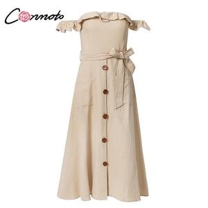 Image 5 - Conmoto Vintage à volants Sexy épaule dénudée longue robe femmes 2019 été fille fête Maxi robe Empire ceintures robe mi longue Vestidos