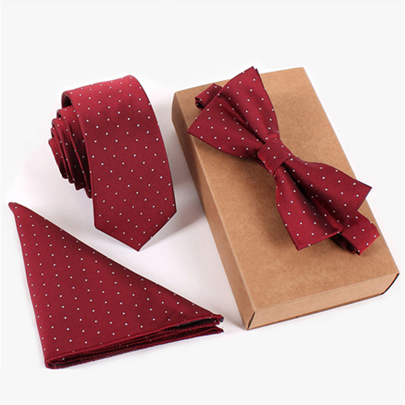 5 Cm Skinny Mens Tie White Dot Red Wedding Red Handkerchief Prom Suits Bow Tie And Pocket Square Set Microfiber Necktie Lote